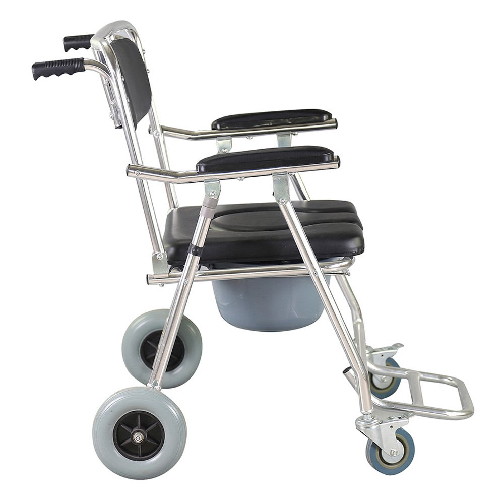 Genmine Mobile Commode Wheelchair With Assistive Seat Shower Toilet Chair with 4 Brakes and Padded Toilet Seat Wheels & Footrests Bedside Shower Transport Chair With Arms SHIPPING FROM US by Genmine (Image #4)