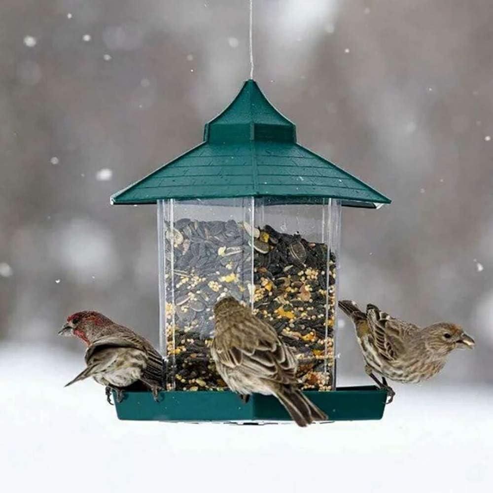 Donpow Comedero para pájaros, comedero para pájaros Salvajes Que cuelga para la decoración Exterior del jardín, hexágono en Forma de Techo