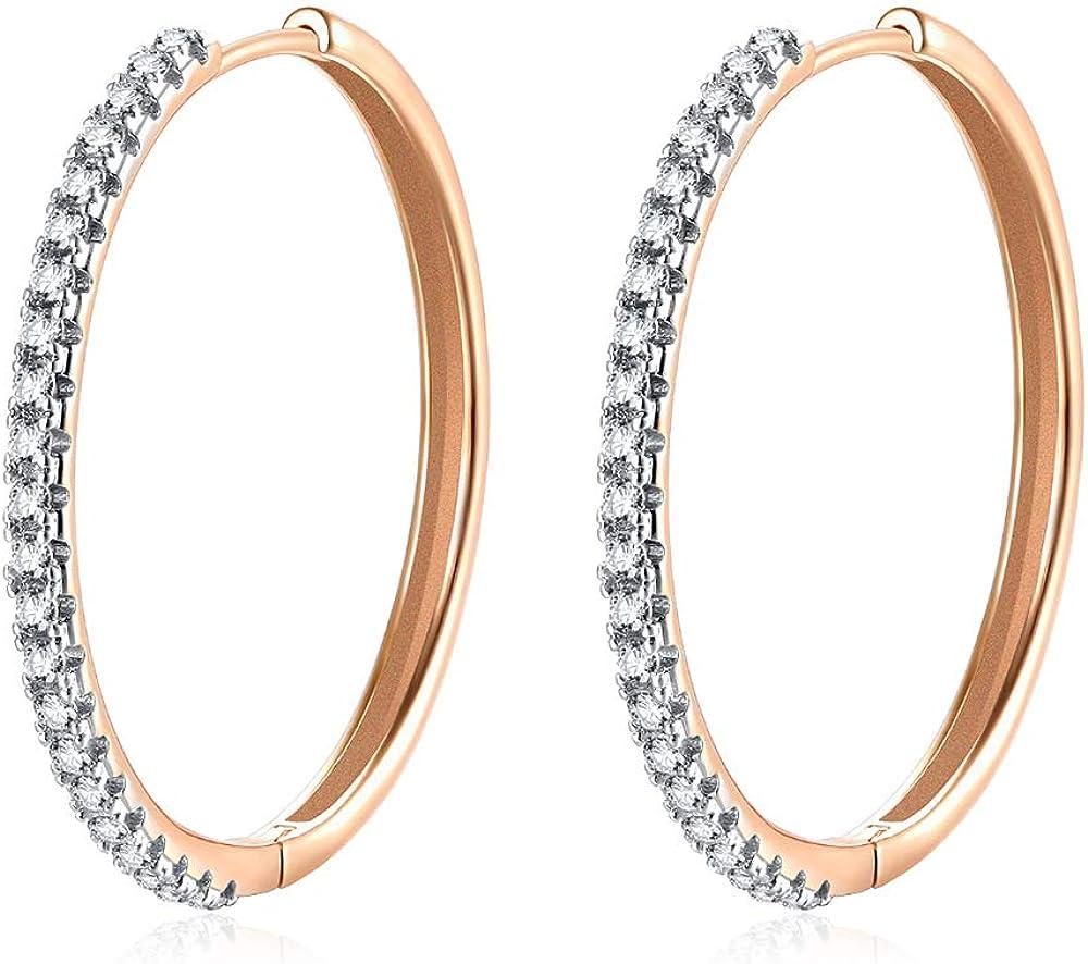 Big Size Hoop Earrings with Cubic Zirconia, Crystal Drop & Dangle Earrings for Women & Girls Sensitive Piercing Earrings Gold Plated Brass Huggie Stud 13.78 inch (35CM)