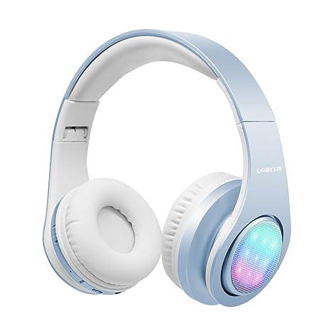 LOBKIN Bluetooth para auriculares con 3 Modo Luz Led estéreo de música plegable Sobre-oído