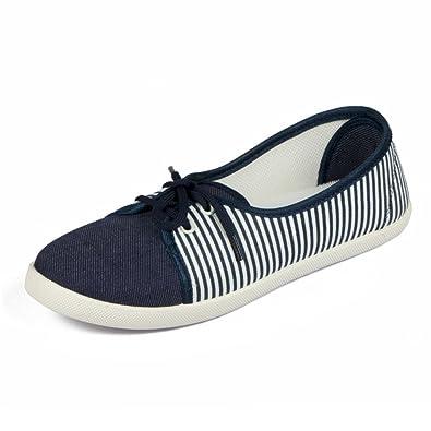 2da3462141949e Asian shoes LR-82 Navy Blue White Canvas Women Shoes: Buy Online at ...