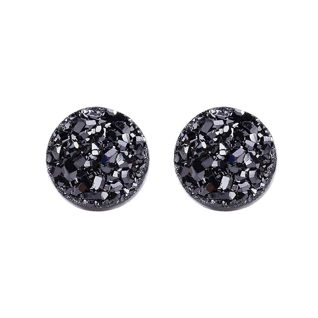 Sterling Silver 10mm Black Natural Druzy Crystal Stud Earrings