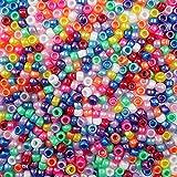 Pearlized Rainbow Basics Multicolor Mix Plastic Craft Pony Beads, 6 x 9mm, 500 Beads