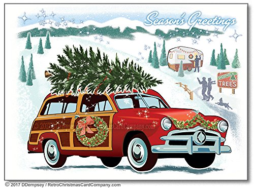 Woodie Wagon Christmas Cards, Package of 8