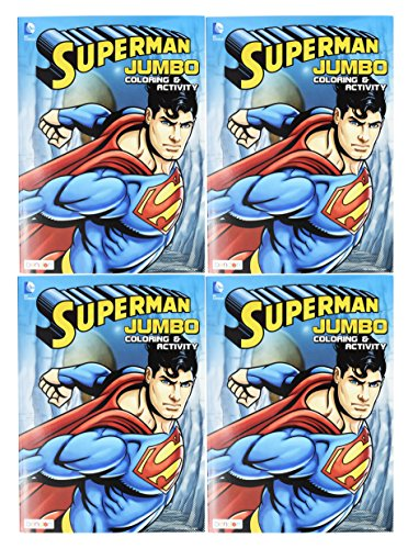 Set of 4 Superman Jumbo Coloring & Activity Book! 96 Pages - Tear and Share Pages - Coloring and Activity Book Perfect for any Superman Fan!