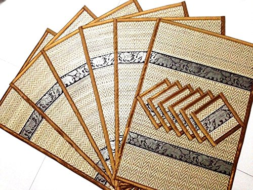 elephant-reed-silk-placemat-coaster-thai-handmade-table-mat-dining-6-pcs-color-brown