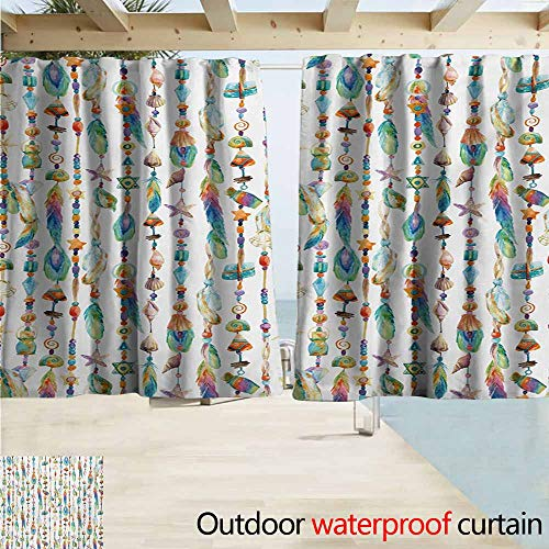 - Zmacdk Feather Home Patio Outdoor Curtain Watercolor Style Figures with Sea Shells Nautical Boho Style Chains Pendant Pattern Energy Efficient, Room Darkening W63 xL45 Multicolor