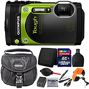 Olympus Stylus TOUGH TG-870 16MP Waterproof Shock Proof Freeze Proof Digital Camera (Green) with 32GB Accessory Kit