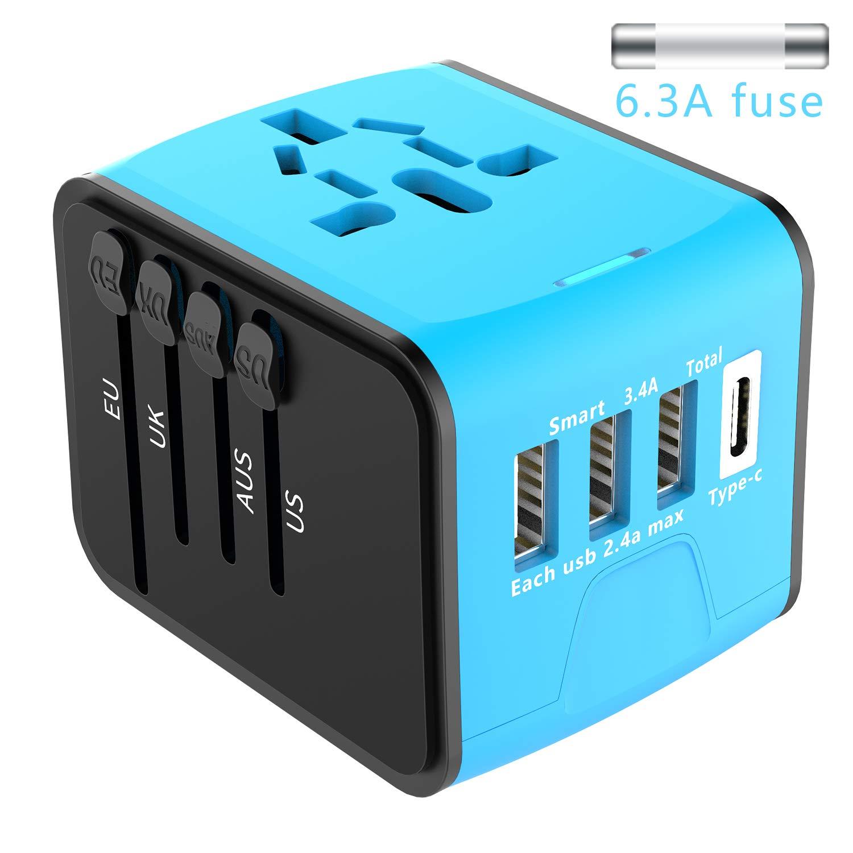 Adaptateur de Voyage Universel EXTSUD Chargeur de Voyage avec 3 Ports USB et Le Type C Prise Internationale avec Un Fusible de Rechange pour US, EU, UK, AU Plus de 170 Pays SL-199-3U-T