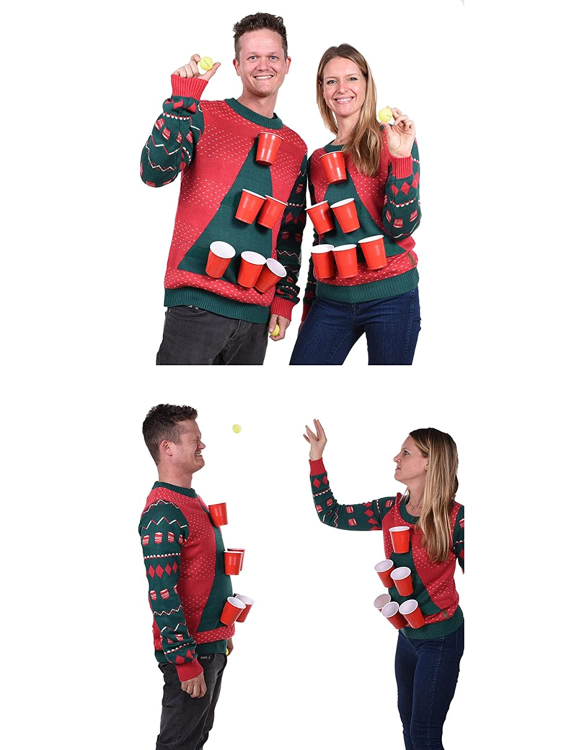 Tipsy Elves Men\'s Beer Pong Game Christmas Sweater - Funny Ugly ...