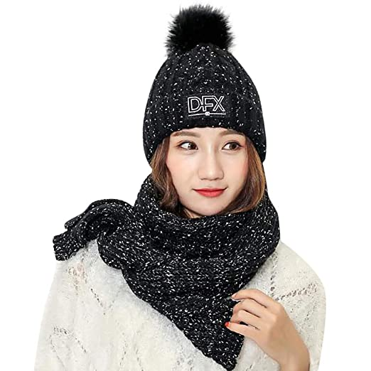 Women Winter Hat 2Pcs Knitted Scarf and Hat Set Thick Warm Knit Beanie Cap  with Fur 631c263a4cbb