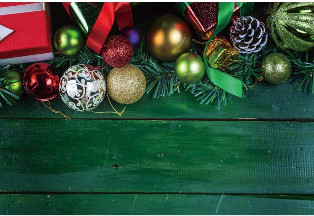 Yeele Wood Backdrop Vintage Green Wood Floor Ornaments Photography Background 10x8ft Christmas Party Decoration Kids Artistic Portrait Photoshoot Props Photo Booth Banner