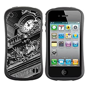 Hypernova Slim Fit Dual Barniz Protector Caso Case Funda Para Apple iPhone 4 / iPhone 4S [ Horloge antique]