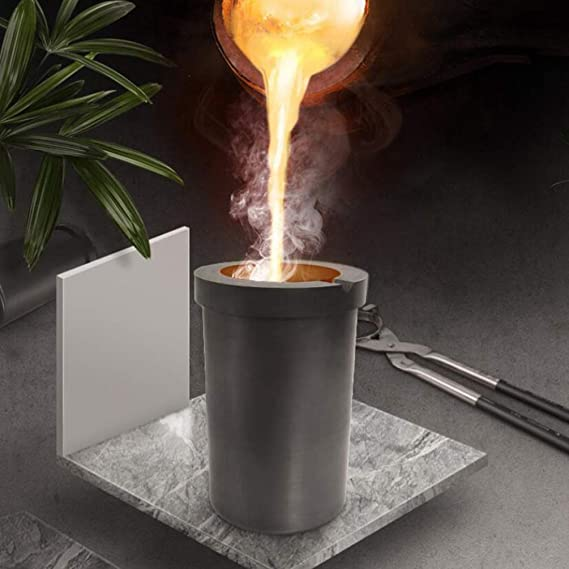 ULTECHNOVO Graphite Melting Crucible Cup High Temperature Resistant High Purity Cylindrical Melting Cup for Gold Silver Copper Brass 1KG