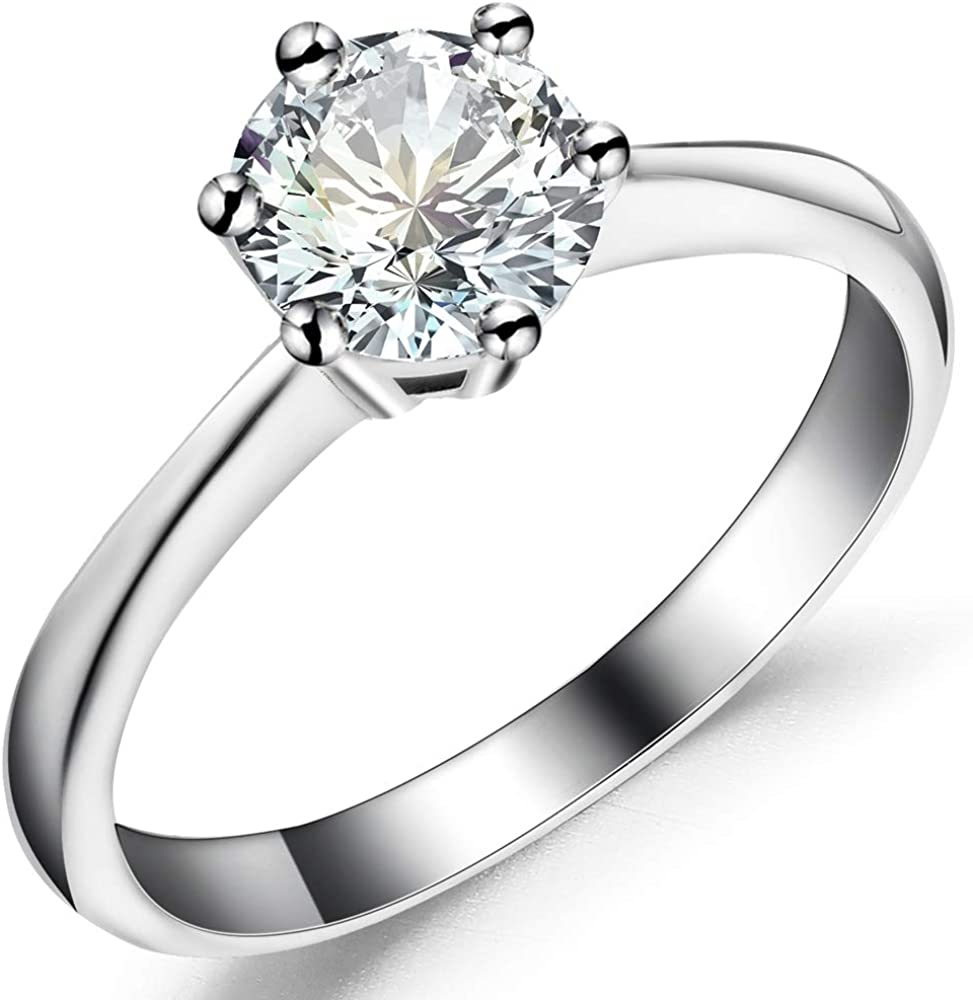 Stainless Steel 1 to 4 Carat Cubic Zircon Simulated Diamond Solitaire Wedding Engagement Ring