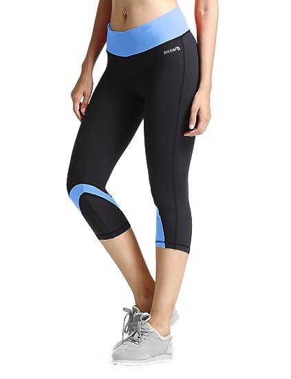 a865c0d21ccb4 Baleaf Women's Yoga Running Workout Capri Legging Hidden Pocket Blue Size XS