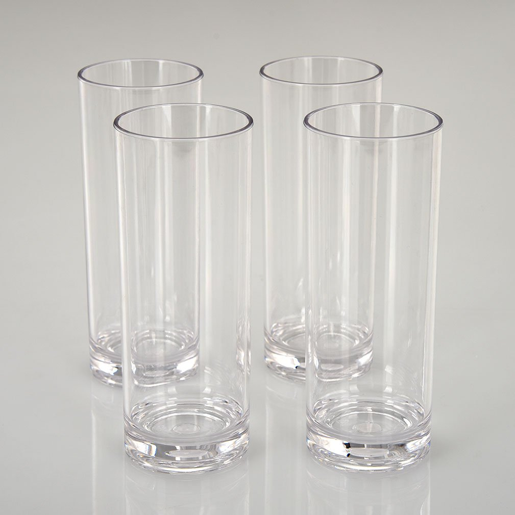 CITYPOINT 4 pcs, 12 OZ Crystal Clear Plastic Straight Cup, Restaurant Water Tumbler Beverage Cups Bar Beer Cup, Break-Resistant Plastic Cup by CITYPOINT (Image #4)