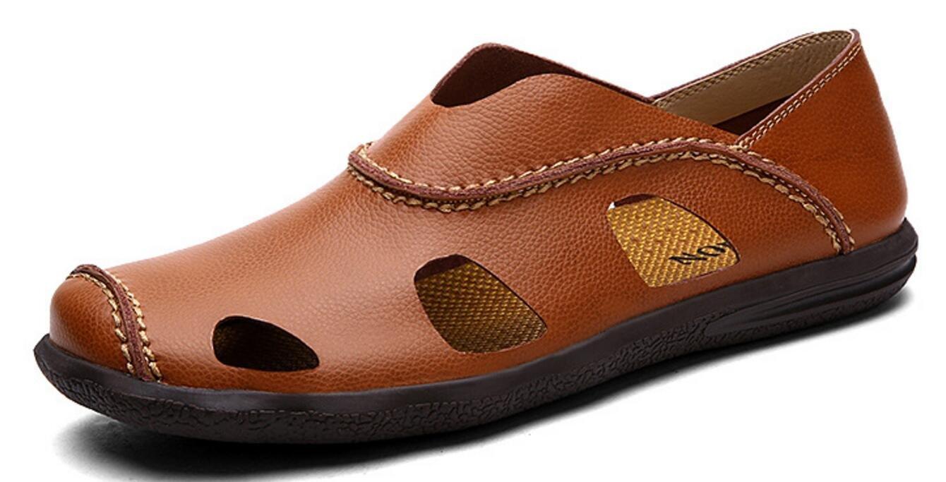 Sommer Herren Sandalen Leder Baotou Beach Casual Schuhe Handgenähte Schuhe Outdoor Sports Sandalen Braun