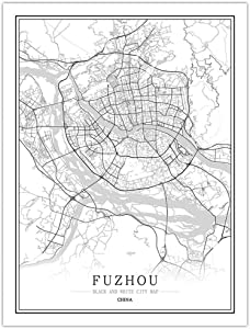 LucklyingBao Canvas Painting Wall Art China Black and White City Map Poster Fuzhou Wall Art Home Decor Canvas Painting Creative Gift for Living Room,No Frame 60×90Cm