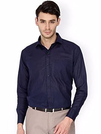 5140f6fae7b84 Oshano Men s Navy Blue Casual Formal Plain Solid Full Sleeves Slim Fit Shirt  for Men Office Party Daily Wear  Amazon.in  Clothing   Accessories