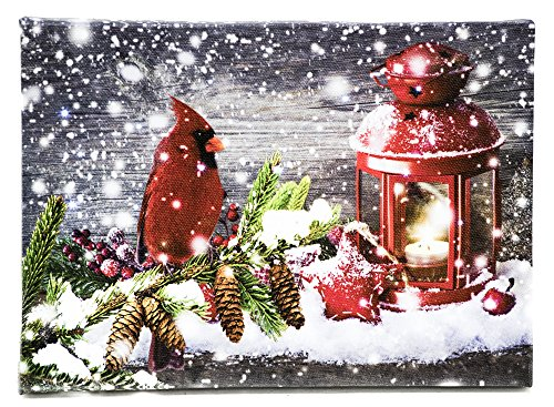 Oak Street Christmas Snowy Cardinal & Lantern Canvas Wall Art With Twinkling LED Lights and Timer