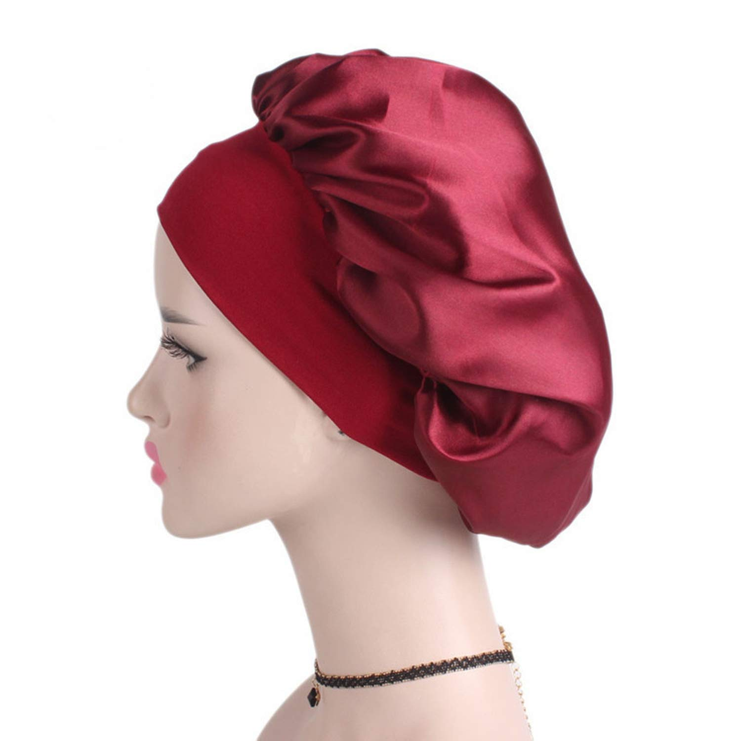 Womens Satin Solid Wide-Brimmed Hair Band Sleep Cap Chemotherapy Hat Hair Cap Womens Hat
