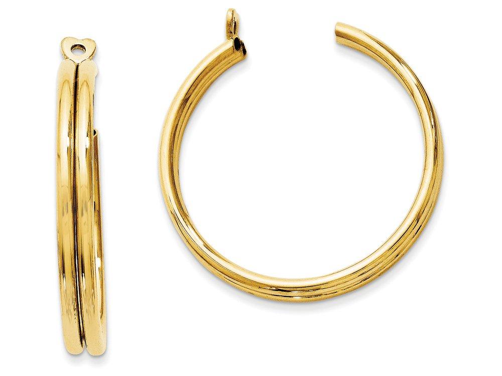 14k Yellow Gold Polished Double Hoop Earring Jackets