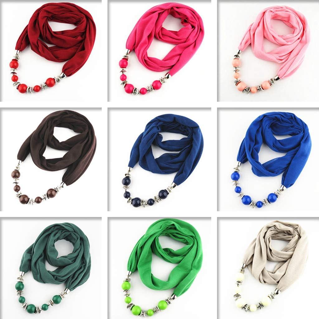 Kofun /Écharpe Femme Womens Neckerchief Ring Scarf Colliers Perles Solide Couleur Bijoux Ch/âle Rose