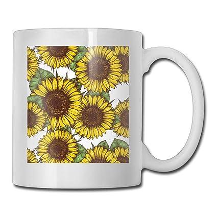 Taza de café divertida de tela de girasol taza de té para café 11 onzas regalo perfecto para familia y amigos