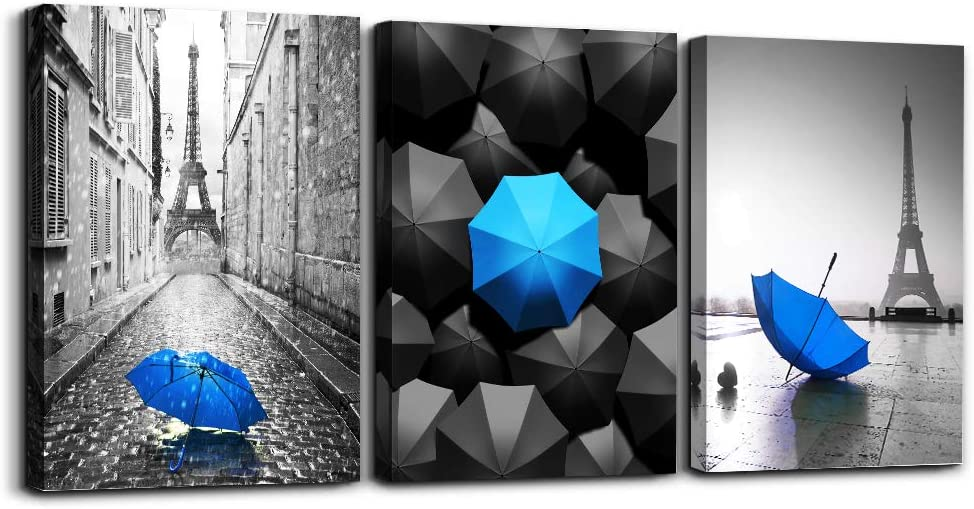 Black and white Eiffel Tower Canvas wall art for living room bathroom Wall Decor bedroom wall Artworks Pictures blue watercolor painting Canvas art 12