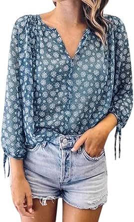 Camisas Mujer Estampado Floral Vintage Blusas Informales ...
