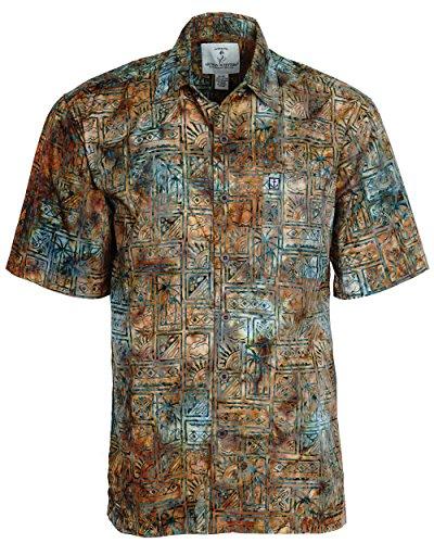 Artisan Outfitters Mens Outer Banks Batik Cotton Shirt  M  Caramel Horizon  A0214 47 M