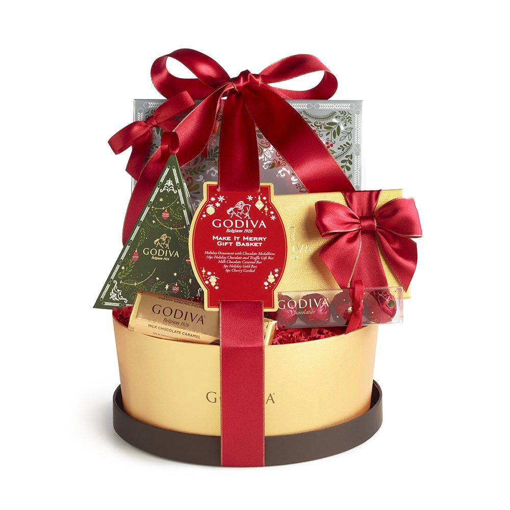 Amazon.com : Godiva Chocolatier Make It Merry Gift Basket, 6.8 ...