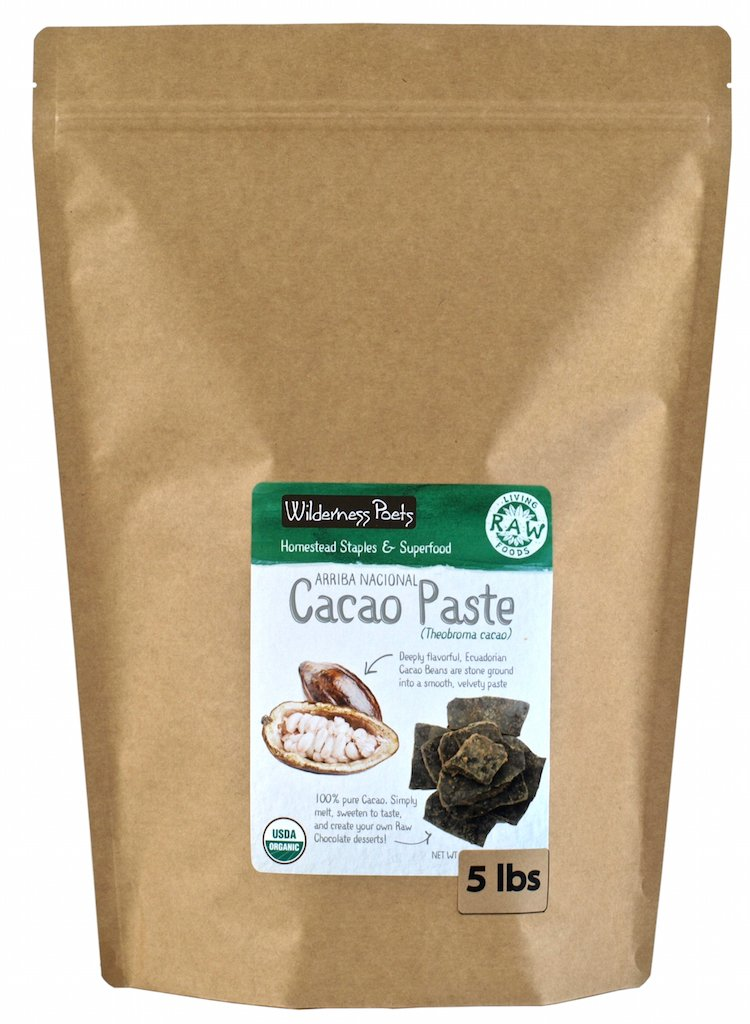 Wilderness Poets Organic Cacao Paste- Made from Stone Ground, Raw 100% Cacao Beans (10 Pound)-Seasonal Item, Call Wilderness Poets for Availability in Bulk Sizes