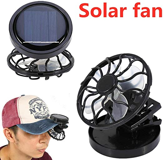Hot Clip On Solar Cell Fan Sun Power Energy Panel Cooling Summer Cooler US