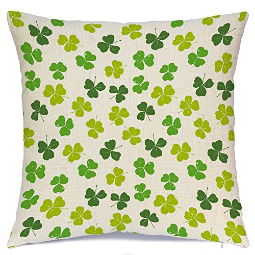 AENEY St. Patricks Day Green Lucky Clover Pattern Spring Home Decorative Throw Pillow Case Cushion Cover Saint Patricks Day Cotton Linen Home Decor for Couch Sofa Bed Chair 18 X 18 Inch