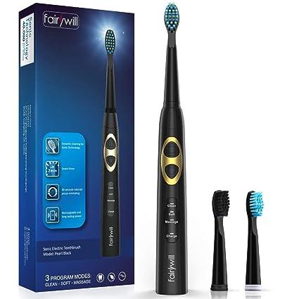 Cepillo electrico dientes Fairwill 917 negro, dientes limpios como dentista, cepillo de dientes recargable