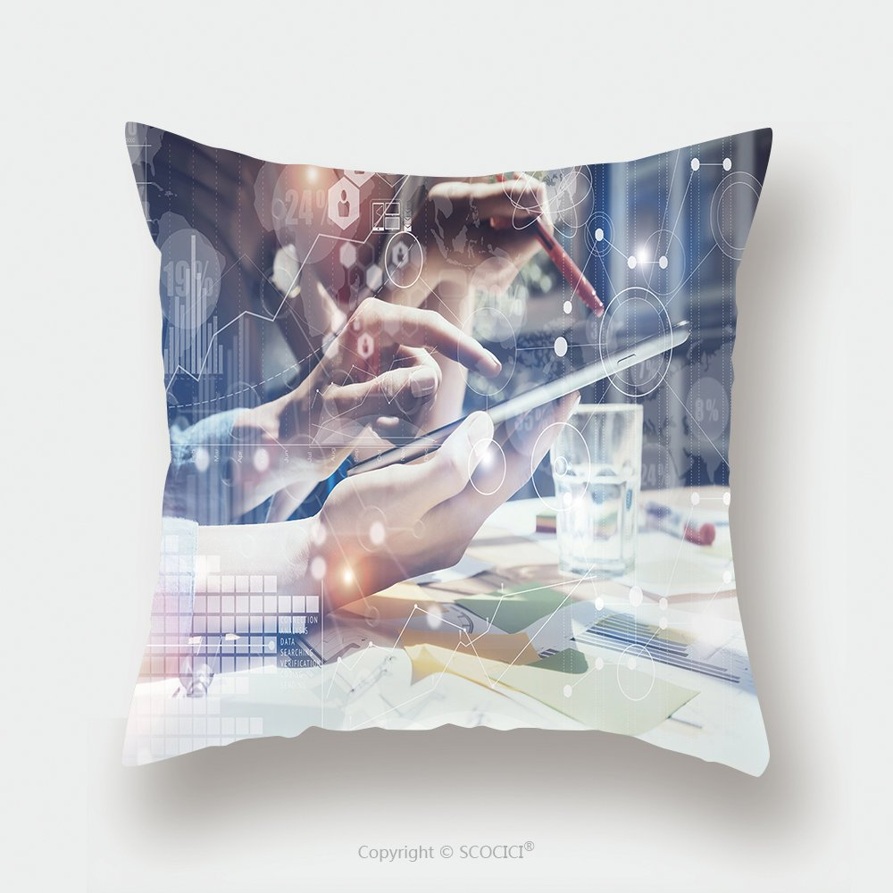 Custom Satin Pillowcase Protector Woman Touching Screen Electronic Tablet Hand Project Manager Researching Process Business Team 440066047 Pillow Case Covers Decorative by chaoran