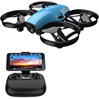 Potensic A30W Mini RC Nano Quadcopter with Camera, Auto Hovering, Route Setting, Gravity Induction Mode and 500mAh Detachable Battery, Easy To Fly (Blue)