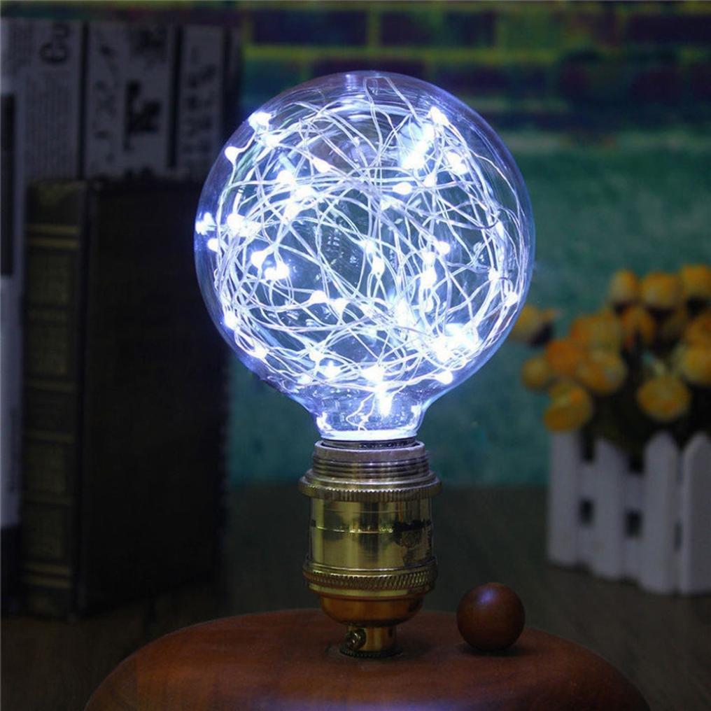 Squarex de Noël à LED E27Ampoule Lampe Starry Guirlande lumineuse fête de Noël ampoule lampe Home Decor, Autre, Red, Size: 125X100mm