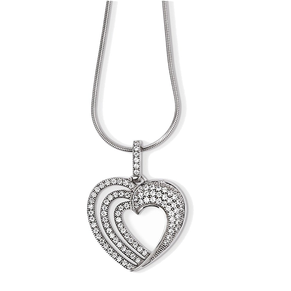 Lex /& Lu Sterling Silver /& CZ Brilliant Embers Heart Necklace 18 LAL114445