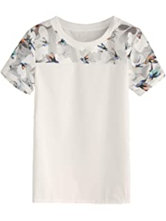 87215c13da47 SheIn Women's Summer Short Sleeve Bird Print Mesh Blouse Shirt Top