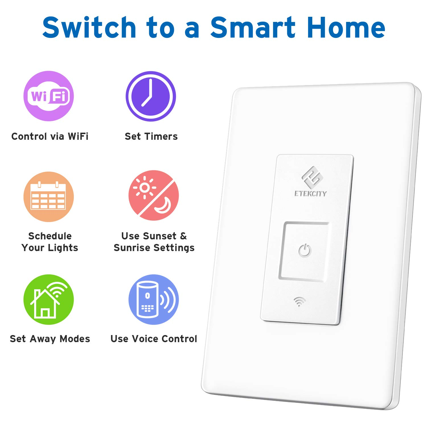 Etekcity Smart WiFi Light Switch, Wireless Remote Control from Anywhere, Schedule Your Home, No Hub Required, Works with Alexa and Google Home, Single Pole Only, White, 15A/1800W, ETL Listed by Etekcity (Image #2)