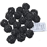Ougual 20pcs Wicker Rattan Balls Table Wedding Party Christmas Decoration (Diameter 1.2 Inch, Black)