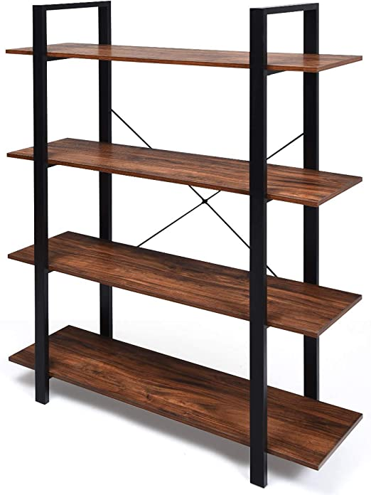 3//4//5 Tier Industrial Retro Wall Mount Iron Pipe Storage Shelf Bracket Bookshelf