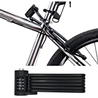HONPHIER Universal Folding Bike Lock Portable Steel Chain Lock Heavy Duty 6 Joints Bicycle Lock Anti-Theft Bike Password…