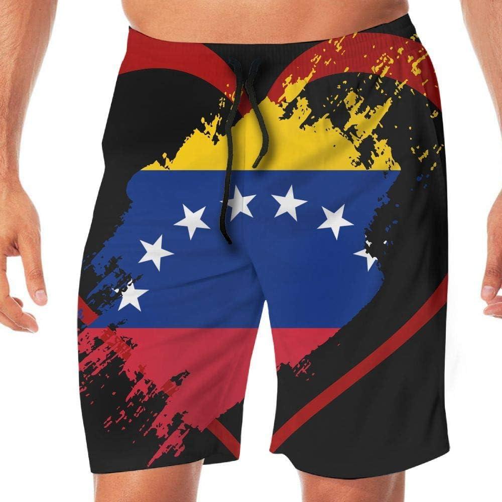 Mens Swim Trunks Venezuela Flag Heart Shape Casual Sport Beach Boardshort for Men