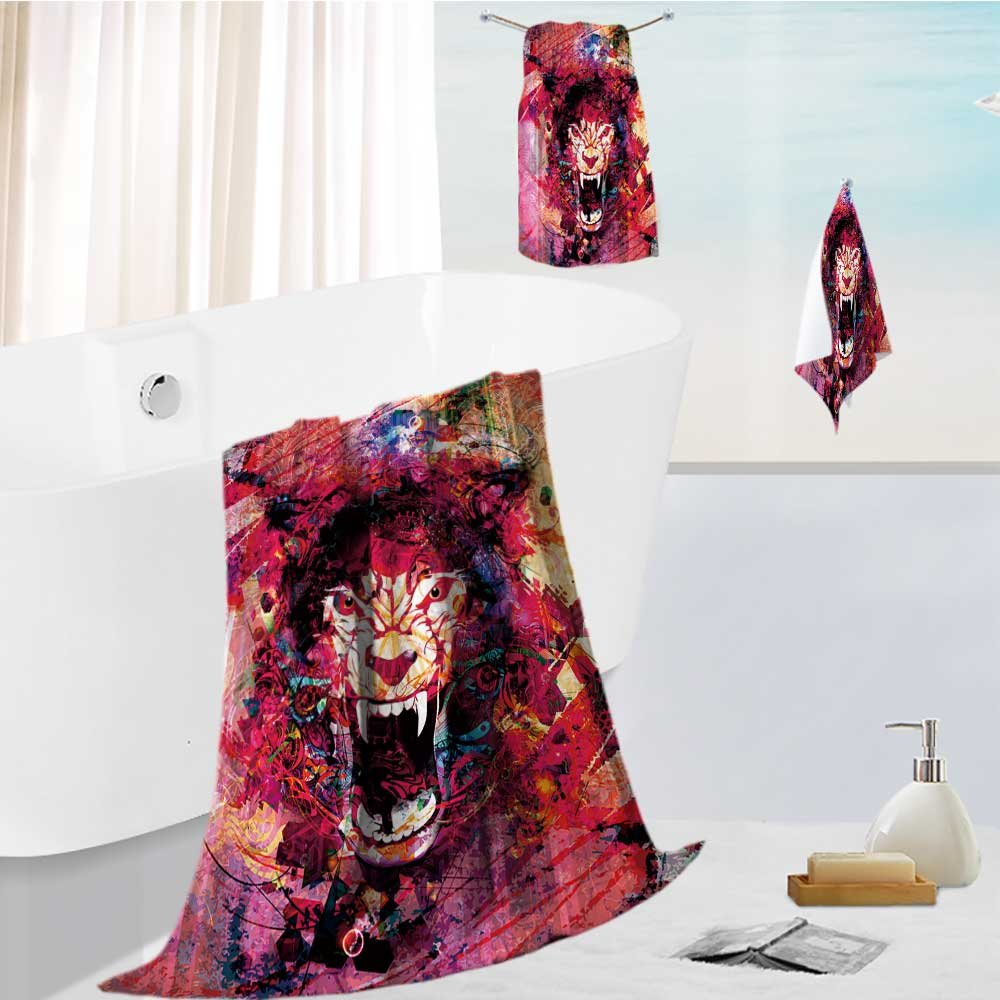 Auraise Home Luxury Bath Towel Collection Set Abstract animal face background Machine Washable, Super Soft 13.8''x13.8''-11.8''x27.6''-27.6''x55.2''