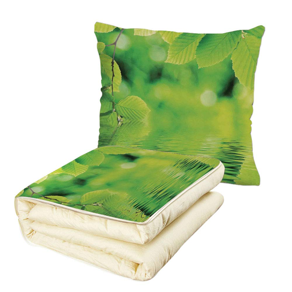 iPrint Quilt Dual-Use Pillow Leaves Leaves in Water Spa Open Your Chakra with Nature Meditation Ecological Monochrome Photo Multifunctional Air-Conditioning Quilt Green