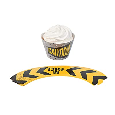 Fun Express - Construction Zone Cupcake Collars (2dz) for Birthday - Party Supplies: Toys & Games